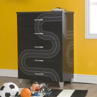 8050027K Black 5-Drawer Chest with Race Track Decals - Luka