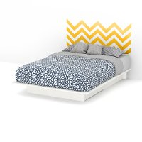 8050090K White Queen Storage Platform Bed with Yellow Decal Headboard (60 Inch) - Step One