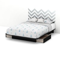 8050093K Black Queen Storage Platform Bed with Gray Decal Headboard (60 Inch) - Step One