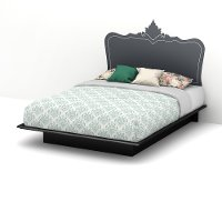 8050096K Black Queen Platform Bed with Decal Headboard (60 Inch) - Step One