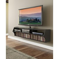 Altus Black 60 Inch Wall Mounted A/V Console