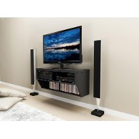 Series 9 Black 42 Inch Wall Mounted A/V Console