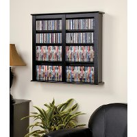 Black Floating Wall Mounted Media Storage