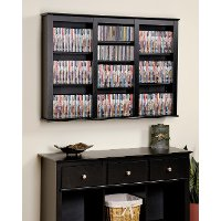 Black 47 Inch Wall Mounted Media Storage