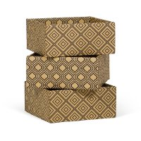 SB001-MD3 Diamond Pattern 3-Pack Decorative Storage Box (Small) - Shoe Storage