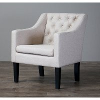 9070-Beige-CC Beige Tufted Club Chair - Brittany