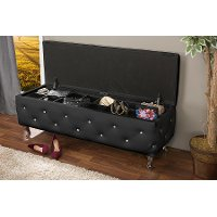 BBT3112-BLACK Contemporary Black Storage Ottoman - Seine