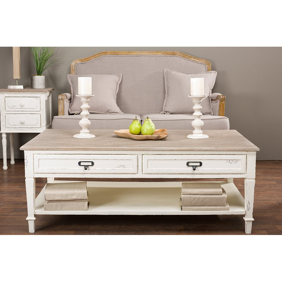 Traditonal French White Coffee Table - Dauphine