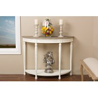 PLM2VMM-B-CA Traditional French White Console Table - Vologne
