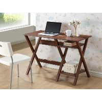 SD-09-OAK Modern Dark Brown Writing Desk - Crossroads