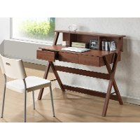 SD-10-Oak Modern Dark Brown Writing Desk - Crossroads II