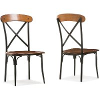 CDC222-DS2 Set of 2 Antique Black/Brown Dining Chairs - Broxburn