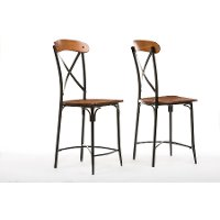 CDC222-PP2 Antique Black/Brown Counter Height Stools (Set of 2) - Broxburn
