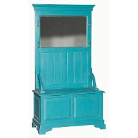 Teal Hall Tree Stand with Mirror
