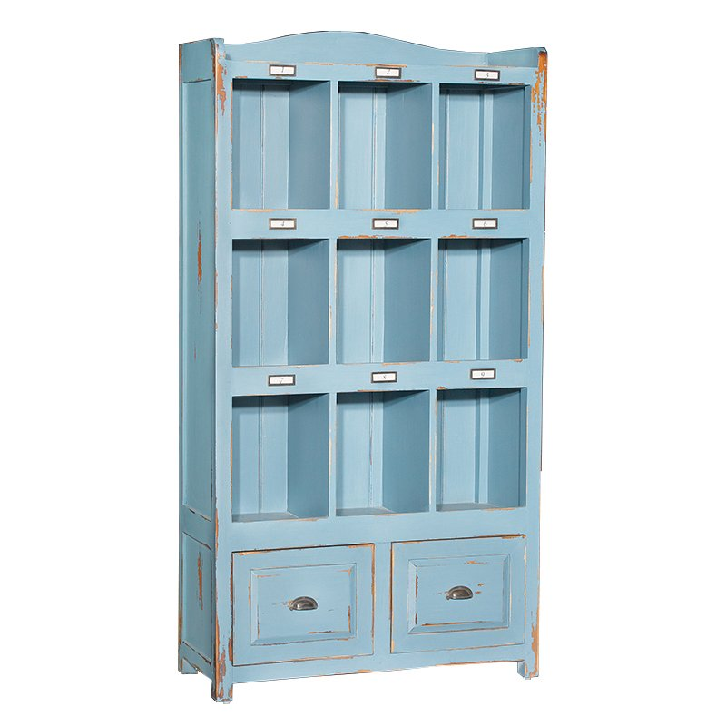 Blue Distressed 2 Drawer Storage Cabinet