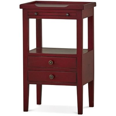 Deep Red Distressed 2 Drawer Side Table