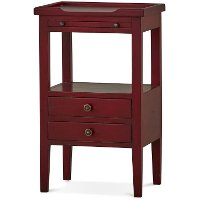 Deep Red Distressed Accent Table - Aries