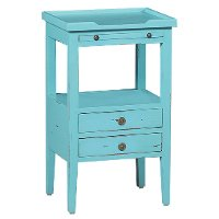 Cool Blue Distressed Accent Table - Aries