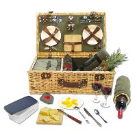 26107 Picnic Pack Willow Picnic Basket for 4 person with Corduroy Green