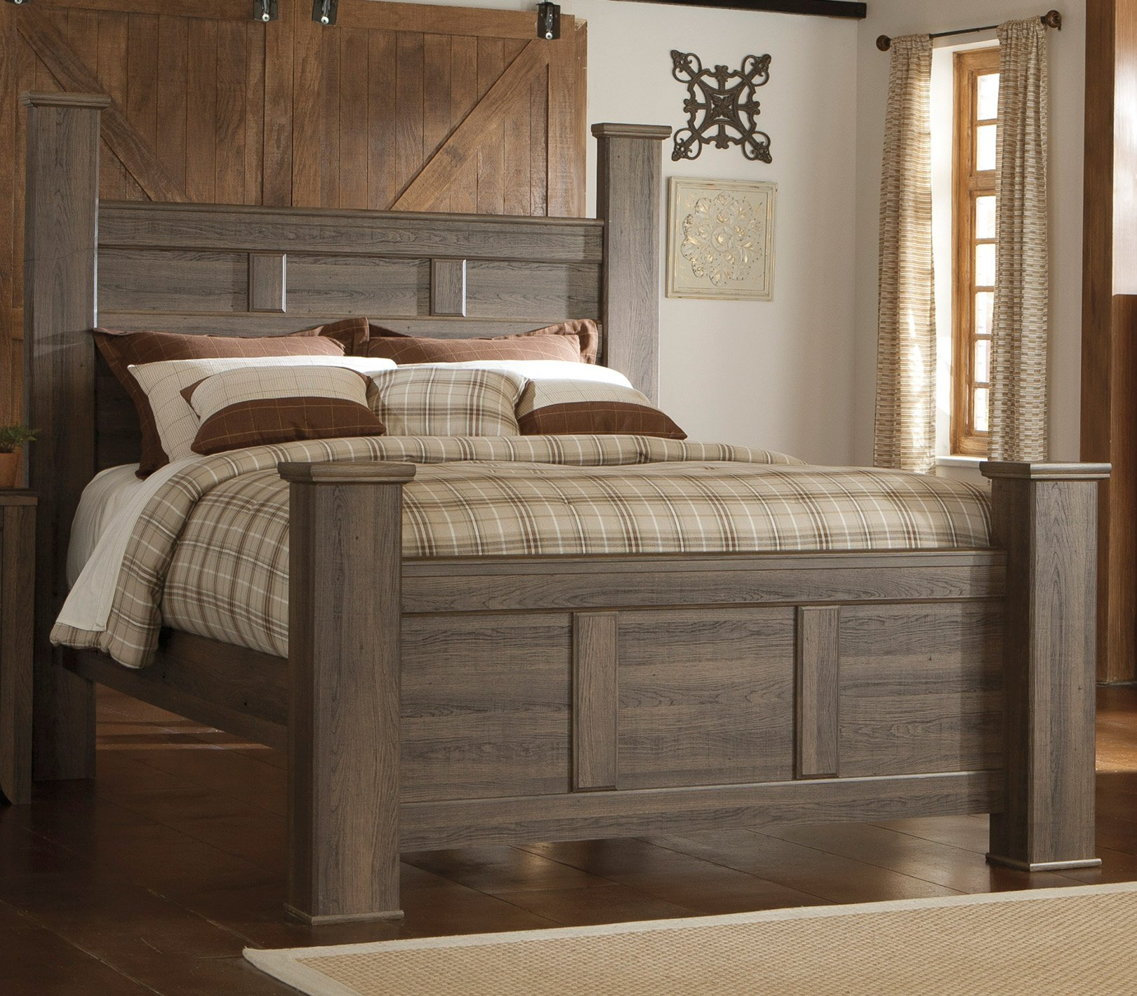 Rustic Modern Driftwood Brown Queen Size Bed   Fairfax
