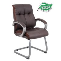 Plush Brown Leather Guest Chair