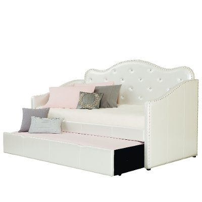 caroline pearl white upholstered daybed with trundle