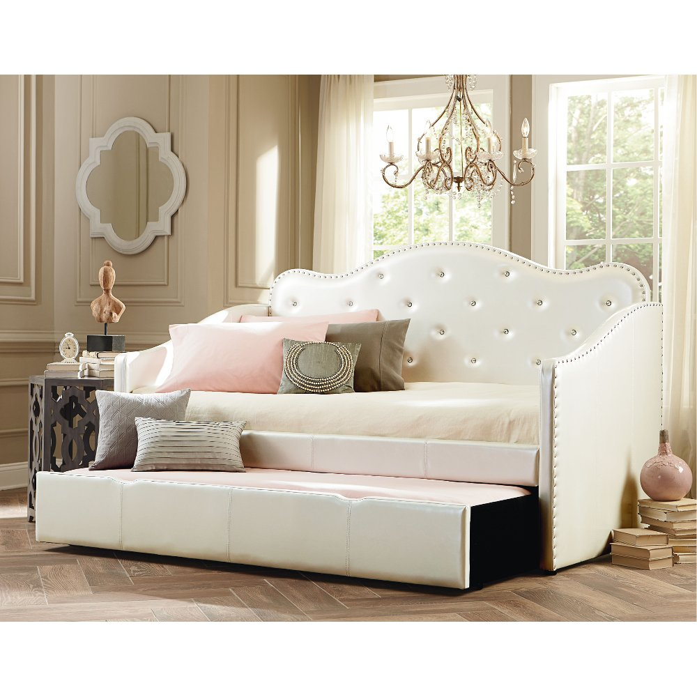 Caroline Pearl White Upholstered Daybed with Trundle | RC Willey ...