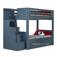Phoenix Blue Twin Over Twin Bunk Bed With Stairs Rc