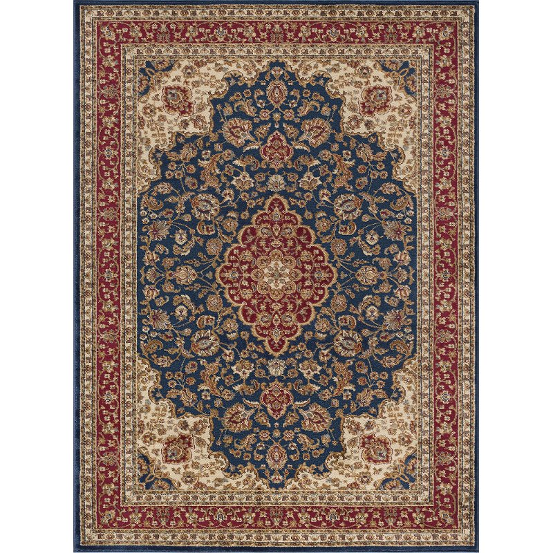8 X 11 Large Navy Blue And Red Area Rug Sensation