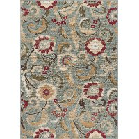 LGN5056 5x7 5 x 7 Medium Blue, Red, and Beige Area Rug - Laguna