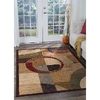 LGN51105x7 5 x 7 Medium Tan and Red Area Rug - Elegance