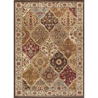 ELG5120 5x7 5 x 7 Medium Tan and Red Area Rug - Elegance