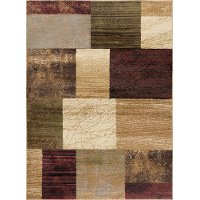 ELG5210 5x7 5 x 7 Medium Brown, Red & Green Area Rug - Elegance