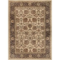 ELG5332 8x10 8 x 10 Large Ivory, Brown, and Gold Area Rug - Elegance