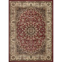 ELG5390 5x7 5 x 7 Medium Ivory, Red, and Gold Area Rug - Elegance