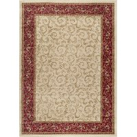 ELG54028X10 8 x 10 Large Ivory, Gold, and Red Area Rug - Elegance