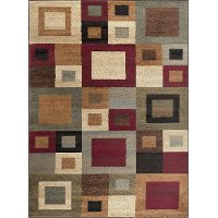 ELG5410 5x7 5 x 7 Medium Red, Gray-Blue, and Beige Area Rug - Elegance