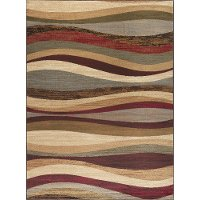 ELG54208x10 8 x 10 Large Red, Gray-Blue, and Beige Area Rug - Elegance