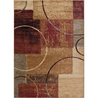ELG5430 5x7 5 x 7 Medium Red, Gray-Blue, and Beige Area Rug - Elegance