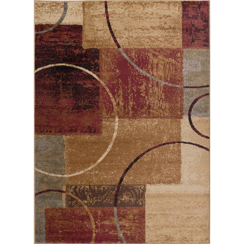 5 X 7 Medium Red Gray Blue And Beige Area Rug Elegance Rc