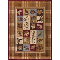 NTR6510 8x11 8 x 10 Large Tan, Brown & Blue Area Rug - Nature