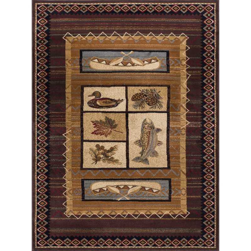 5 X 7 Medium Tan Brown And Blue Area Rug Nature Rc Willey Furniture