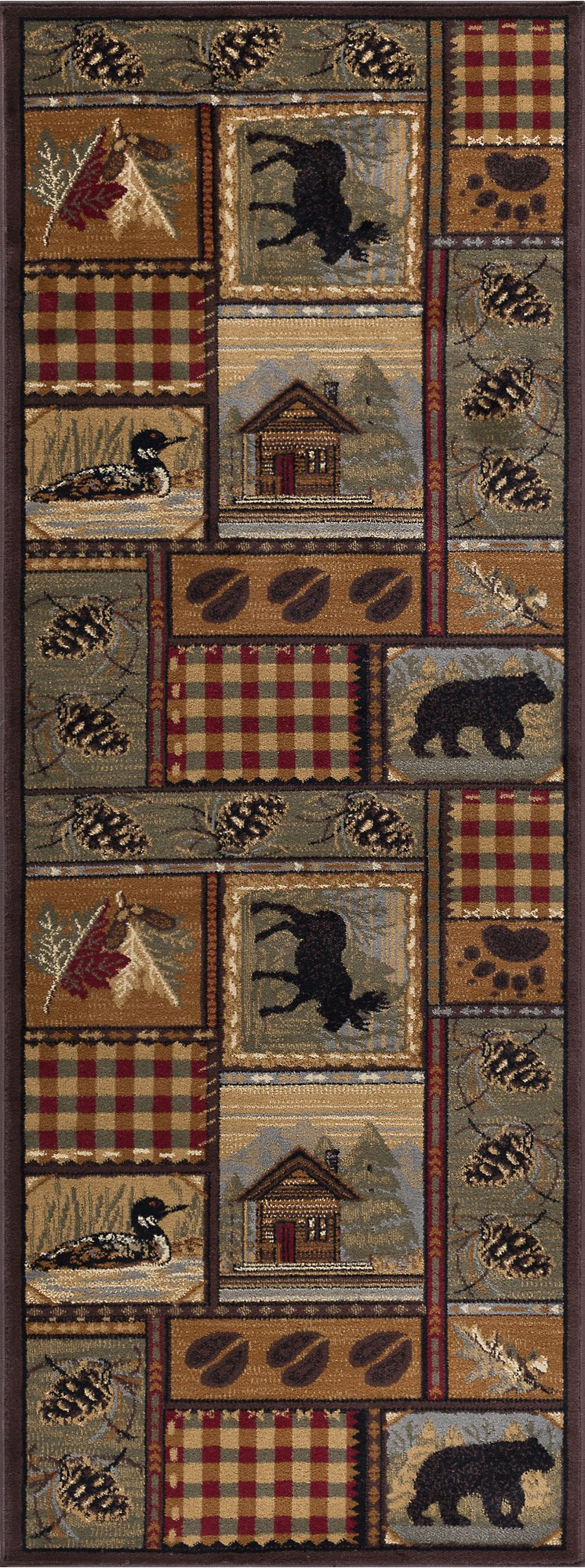 Tan, Green, and Red 7 Foot Runner Rug - Nature