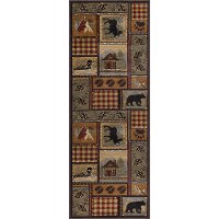NTR6548 3x8 Tan, Green, and Red 7 Foot Runner Rug - Nature
