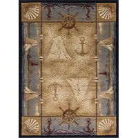 NTR6582 8x11 8 x 10 Large Beige, Blue, and Red Area Rug - Nature