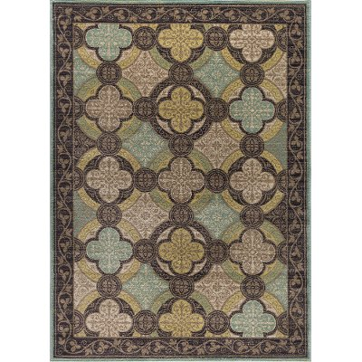 CPR1005 8x10 8 X 10 Large Aqua Blue, Brown U0026 Green Area Rug