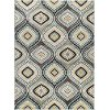 CPR1008 8x10 8 x 10 Large Aqua Blue, Brown & Gold Area Rug - Capri