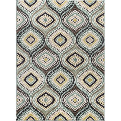 Cpr1008 8x10 8 X 10 Large Aqua Blue Brown Gold Area Rug Capri