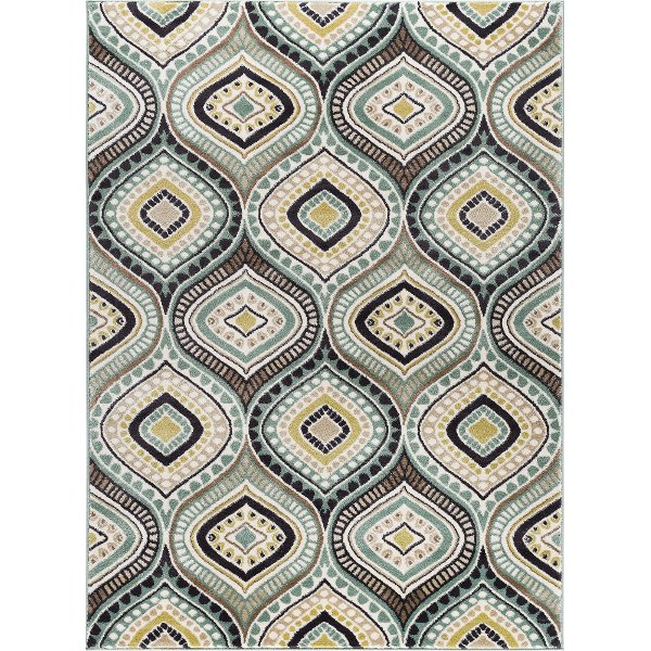 8 X 10 Large Aqua Blue Brown And Gold Area Rug Capri Rc Willey