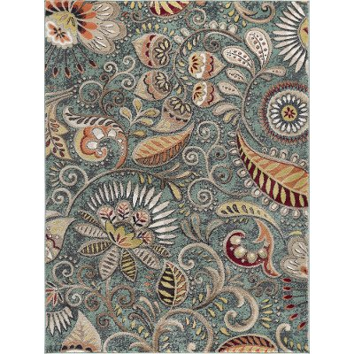 Cpr1009 8x10 8 X 10 Large Aqua Blue Mocha Brown And Gold Area Rug